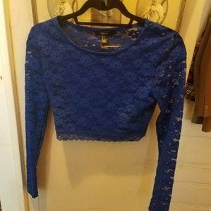 Cobalt lace long sleeve crop top